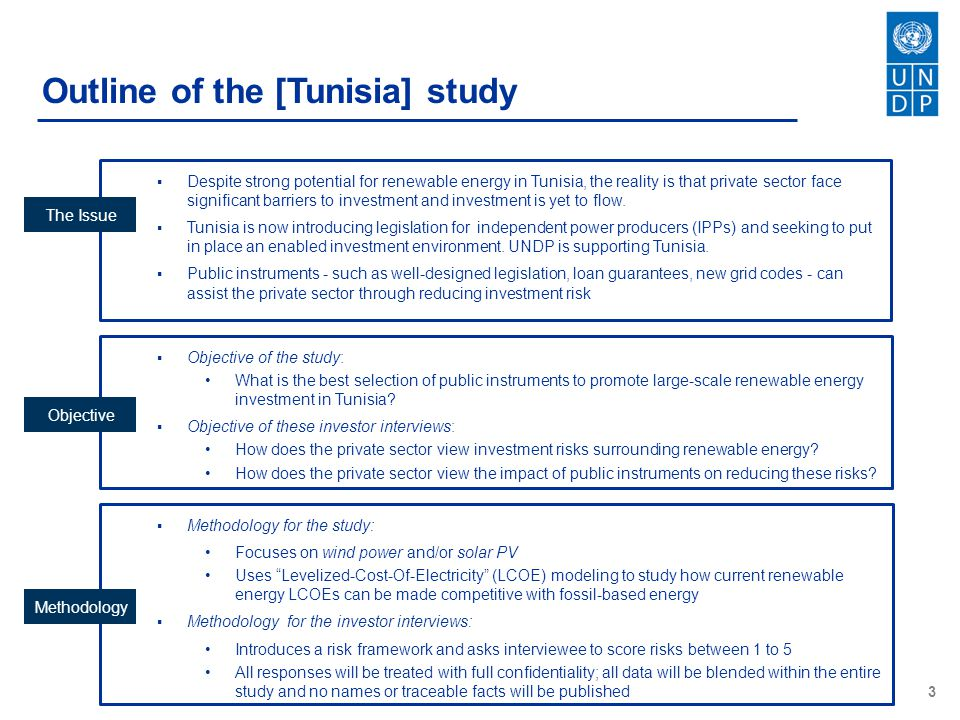 Outline of the [Tunisia] study